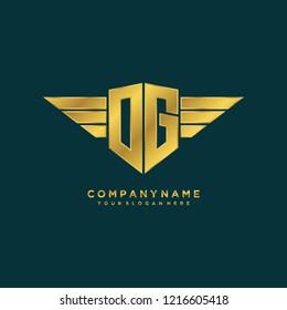 Initial DG wing logo template vector