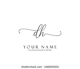 Initial DH beauty monogram and elegant logo design, handwriting logo of initial signature, wedding, fashion, floral and botanical with creative template.
