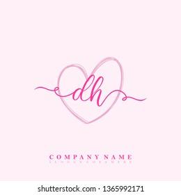 Initial DH handwriting logo