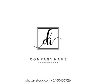 Initial DI beauty monogram and elegant logo design, handwriting logo of initial signature, wedding, fashion, floral and botanical with creative template.