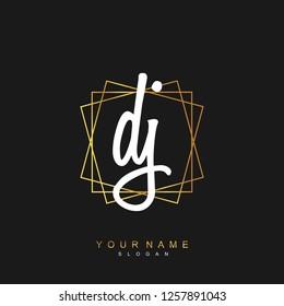 Initial DJ handwriting logo vector