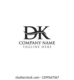 Initial DK Water Wave Letter Logo With Creative Modern Typography Vector Template. Initial Letter DK Logo Design