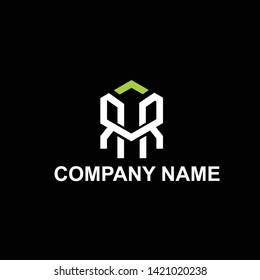 Initial double letter R tech logo inspiration