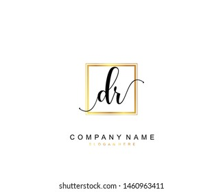 Initial DR beauty monogram and elegant logo design, handwriting logo of initial signature, wedding, fashion, floral and botanical with creative template.