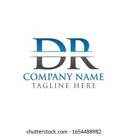 Initial DR Letter Logo Design Vector With Blue and Grey Color. DR Logo Design