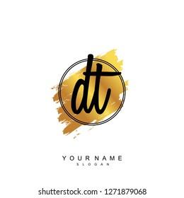 Initial DT handwriting logo vector