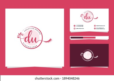Initial DU Feminine logo collections and business card template.