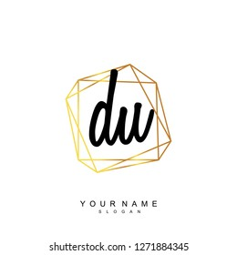 Initial DU handwriting logo vector