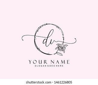 Initial DV beauty monogram and elegant logo design, handwriting logo of initial signature, wedding, fashion, floral and botanical with creative template.