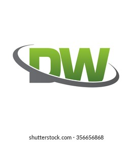 initial DW swoosh ring company logo green gray