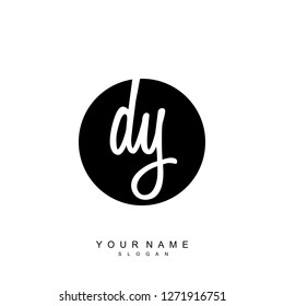 Initial DY handwriting logo vector