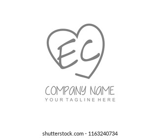 Initial E C with love logo template vector