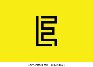 Initial E EE EF FE LE EL LF FL modern monogram and elegant logo design, Professional Letters Vector Icon Logo on yellow background.