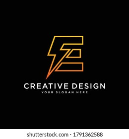Initial E Letter with Lightning Bolt Logo Vector Design