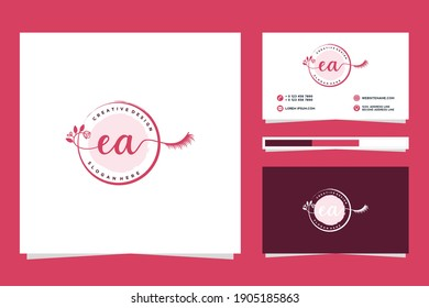 Initial EA Feminine logo collections and business card template.
