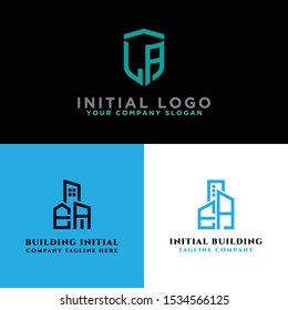the initial EA logo set concept with vector building templates for construction and the modern LA logo set, Inspirational logo design for all companies. - Vector
