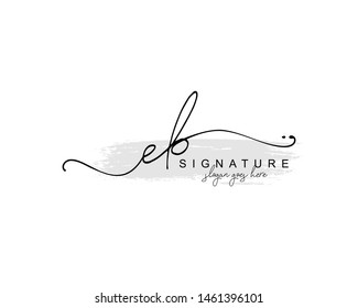 Initial EB beauty monogram and elegant logo design, handwriting logo of initial signature, wedding, fashion, floral and botanical with creative template.