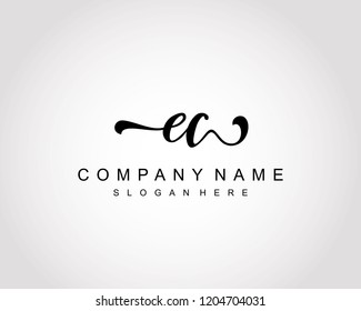 Initial EC handwriting logo vector