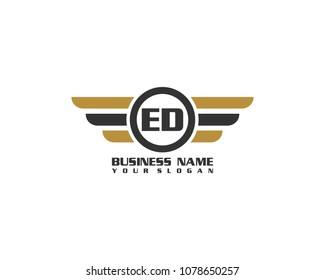 Initial ED wing logo template vector