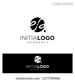 initial ee circle ornament logo template vector illustration