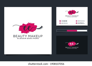 Initial EE Feminine logo collections and business card template.