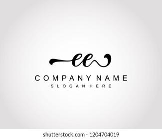 Initial EE handwriting logo vector
