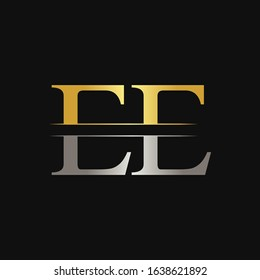 Initial EE Letter Logo With Creative Modern Calligraphy Vector Template. Creative Abstract Letter EE Logo Design