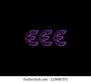 initial EEE letter zig zag dots pattern modern futuristic logotype