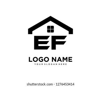 Initial EF home logo vector.