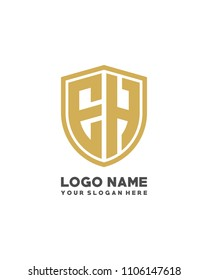 Initial EH abstract shield logo template vector