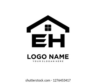 Initial EH home logo vector.