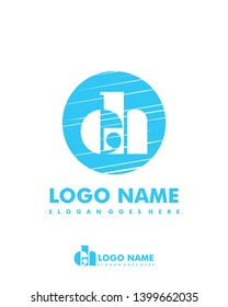 Initial EH negative space logo with circle template