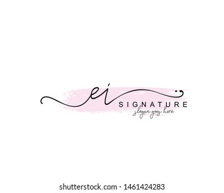 Initial EI beauty monogram and elegant logo design, handwriting logo of initial signature, wedding, fashion, floral and botanical with creative template.