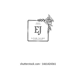 Initial EJ beauty monogram and elegant logo design, handwriting logo of initial signature, wedding, fashion, floral and botanical with creative template.