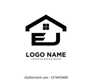 Initial EJ home logo vector.