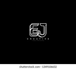 Initial EJ Letter Linked Modern Creative Linear Monochromatic Logo