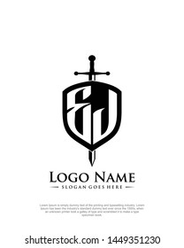 initial EJ letter with shield style logo template vector