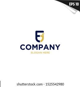 Initial EJ Logo monogram design template. Simple shape elegant style modern logo.