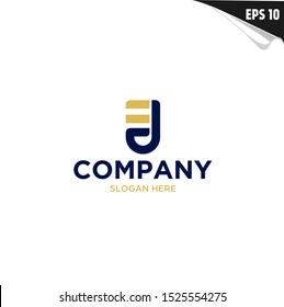 Initial EJ Logo monogram design template. Simple elegant shape style modern logo.