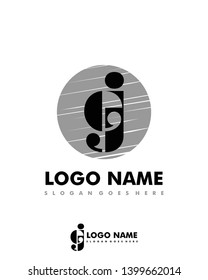 Initial EJ negative space logo with circle template