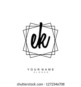 Initial EK handwriting logo vector