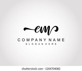 Initial EM handwriting logo vector
