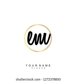 Initial EM handwriting logo vector