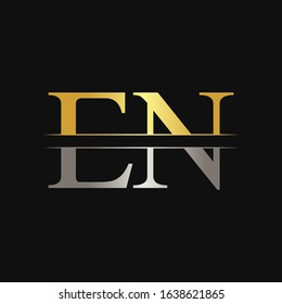 Initial EN Letter Logo With Creative Modern Calligraphy Vector Template. Creative Abstract Letter EN Logo Design