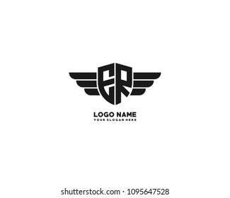 Initial ER wing logo template vector