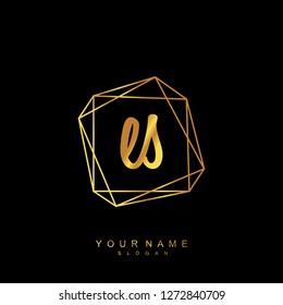 Initial ES handwriting logo vector