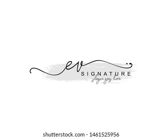 Initial EV beauty monogram and elegant logo design, handwriting logo of initial signature, wedding, fashion, floral and botanical with creative template.