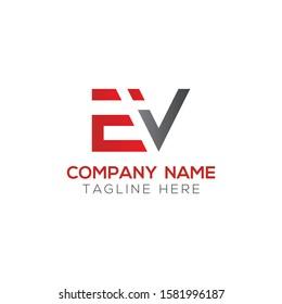 Initial EV Letter Linked Logo. Creative Letter EV Modern Business Logo Vector Template. Initial EV Logo Template Design