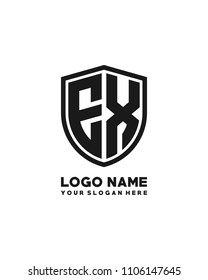 Initial EX abstract shield logo template vector