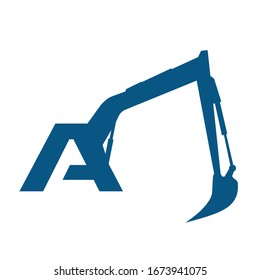 Initial  A  excavator logo concept vector with arm excavator template vector.